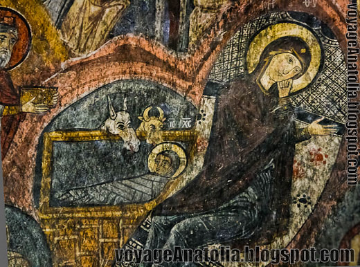 Mother Mary and baby Jesus in Gümüsler Monastery, Cappadocia