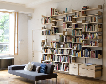 Home library with storage drawers, file drawers and bookshelves.
