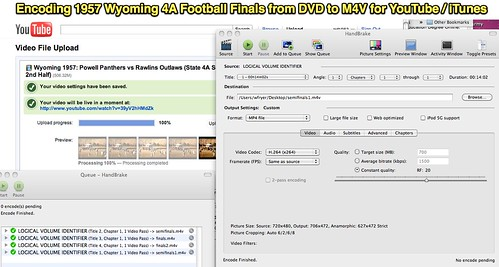 Encoding 1957 Wyoming 4A Football Finals from DVD to M4V for YouTube _ iTunes