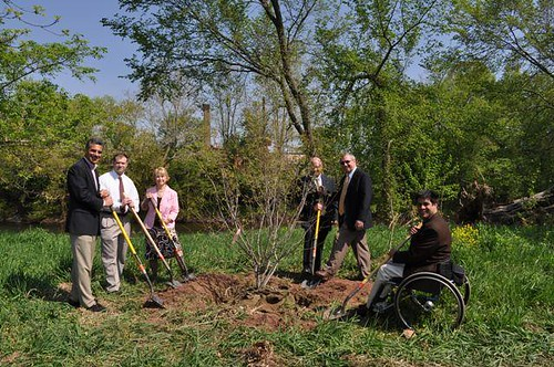 USDA NRCS and local officials plant a tree.  Earth Day, April 22, was founded by former U.S. Sen. Gaylord Nelson of Wisconsin and was first celebrated in 1970. Earth Day continues to be celebrated throughout the country.