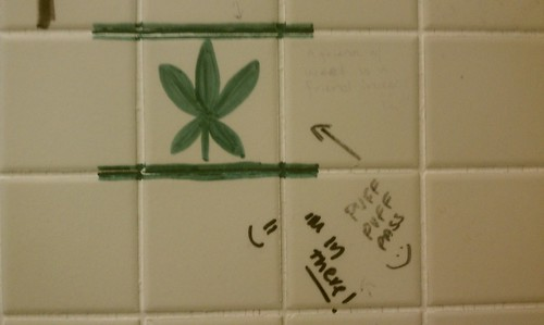 SUNY Purchase, bathroom stall, writing, weed, marijuana, Puff Puff Pass