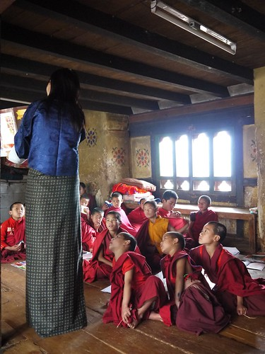 Little monks trying to follow their teacher