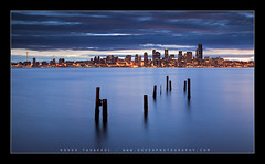 In The Rain (Koveh Photography) Tags: seattle vacation 3 beach wet rain skyline night clouds digital photoshop canon eos lights march pier washington drops spring colorado downtown cityscape photographer nocturnal pacific northwest tripod 9 denver stop filter rainy alki westseattle boardwalk wa spaceneedle pugetsound pilings bluehour reverse pnw lightroom ballhead 24105 eliotbay landscapephotography gnd singhray ef24105 photoclam 5dmkii kovehphotography koveh feizol