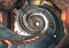 The Lighthouse Stairs from below (Semi-detached) Tags: lighthouse tower geometric architecture modern stairs spiral scotland stair glasgow scottish staircase april rennie mackintosh semidetached 2011