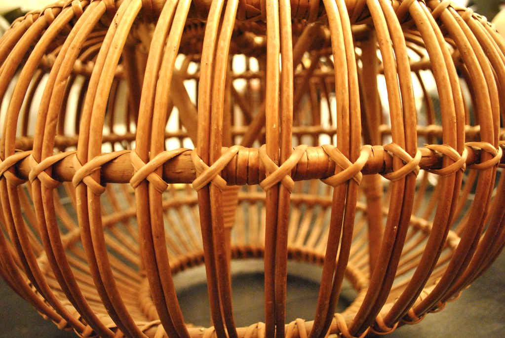 Franco Albini Rattan Ottoman - Caned Poof Detail