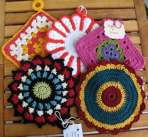 My 5 Potholders from 2011 Crochet Potholder swap