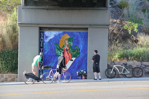 Pilgrims spending time with The Surfing Madonna
