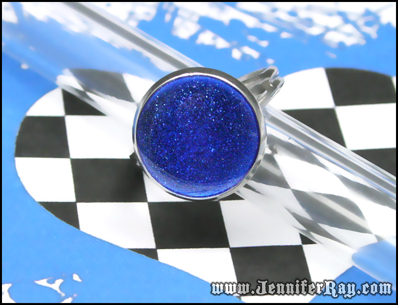 Night Sky & Stars Ring - Blue Resin Round Silver toned Adjustable Ring