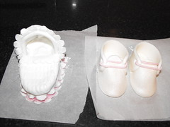 fondant icing baby crib with and booties (xTwinsRulex) Tags: baby cake shoes crib christening booties cot cradle fondant gumpaste