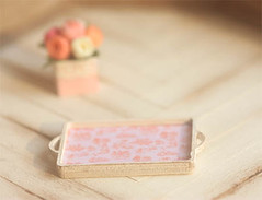 Dollhouse Miniature 1/12 Scale French Pink Toile Tray