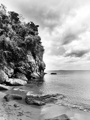Batangas 25 (Daniel Y. Go) Tags: ocean sea vacation bw beach water landscape lumix mono sand rocks philippines panasonic batangas lx5 nasugbo kawayancove lumixlx5 gettyimagesphilippinesq1