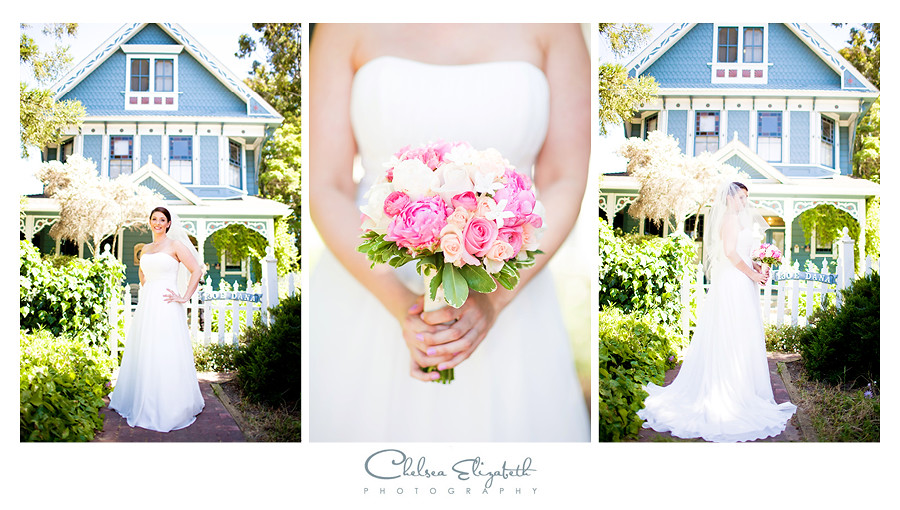 bridal portraits in front of victorian house