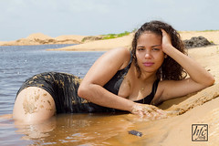 Sea Reine (hfcnathan) Tags: sea portrait mer black sexy beach nature wet beauty fashion model sand dress robe sable mode plage noire guyane frenchguiana
