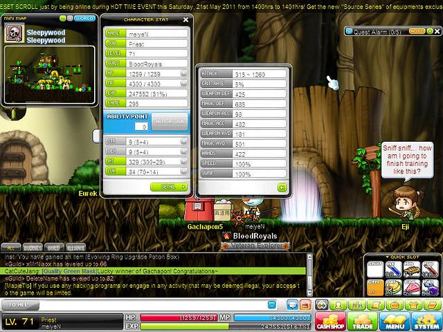 My ability point for my Priest in MapleStory(MAPLESEA) before & after Big Bang