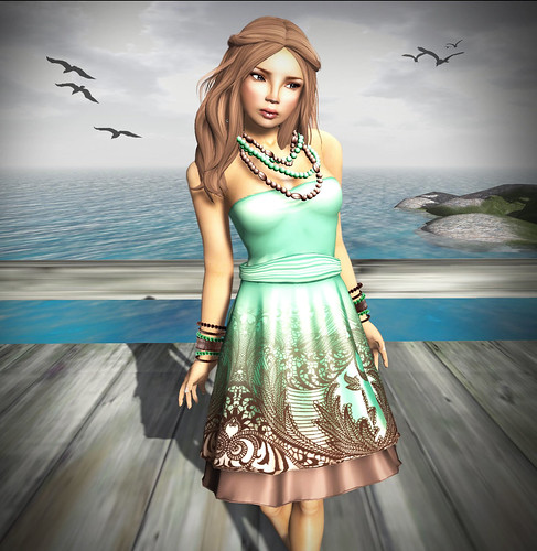 Culture Shock - IZZIE'S Summer Chiffon Dress & Pearl Jewelry Set green brown_002