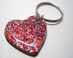 Red Hot Sparkling Heart Resin Keychain with Holographic Glitter (Experience Designs) Tags: red cute glitter silver women keychain heart funky jewelry sparkle accessories resin etsy elegant holographic
