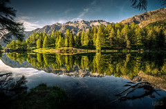 ~ Lai da Palpuogna 1 ~ (dmkdmkdmk) Tags: sunset lake mountains alps tree switzerland swiss albula hdr passroad laidapalpuogna