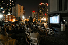 Outdoor screening of Forever Blues at Piazza d\'Italia on 5/6/11