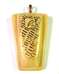 Faux Bone Pendant with Egyptian Hieroglyphics Detail