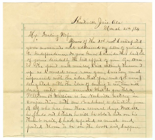 Frank James letter to Anna James, 1884  (1 of 5)
