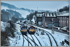 Arctic rendezvous (david.hayes77) Tags: 66015 66238 class66 shed greatrocks tunstead derbyshire snow winter 2015 ews dbs dusk highpeak dbschenker buxton semaphores industry quarry greatrocksdale peakforest arctic rendezvous