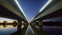 Commonwealth Bridge (Peter Sundstrom) Tags: canberra lake bridge night lights reflection commonwealth burley griffen act australia
