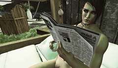 Good Morning (Suan Yootz) Tags: secondlife avatar dirty photoshop naked position suede news newspaper coffee morning