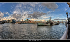 315/365 - HMS Belfast - London.@.1400x800 (Pawel Tomaszewicz) Tags: old uk wallpaper england sky london eye colors beautiful architecture clouds canon photography eos boat photo europe ship foto angle image photos britain great wide picture wideangle battle belfast ps images x fisheye gb 1200 fotografia 800 hdr fable hdri anglia hms iphone pawel ipad architektura chmury niebo 3xp photomatix greatphotographers eos400d 1200x800 bettleship tomaszewicz paweltomaszewicz
