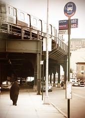 Coming into Coney Island (mheidelberger2000) Tags: street nyc newyorkcity urban black brooklyn subway coneyisland veil rail retro busstop sidewalk pedestrians mta elevated dtrain springcreek stillwellavenue stillwellavenuestation mermaidavenue b82 bmtwestendline