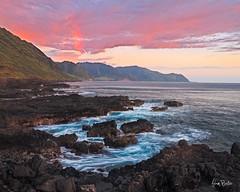 looking leeward ([Adam Baker]) Tags: ocean park sunset motion mountains water canon point landscape hawaii lava coast waves state pacific crash hiking north shore tropical range rugged kaena waianae mokuleia 24105l adambaker 5dmkii