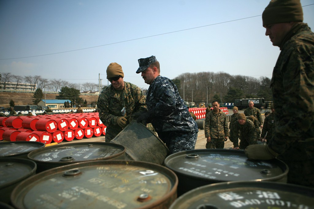 Marines and Sailors organize relief supplies for Japan