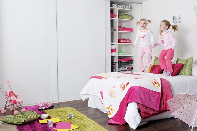 Sliderobes fitted sliding wardrobe white glass bedroom interior