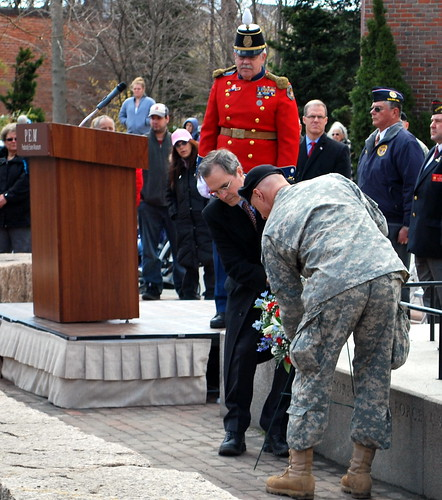 Lt. Col. Richard M. Bertone (right) and Mr. Jay Finney (left), Deputy Director of the Peabody Museum, lay a wreath at the ceremony
