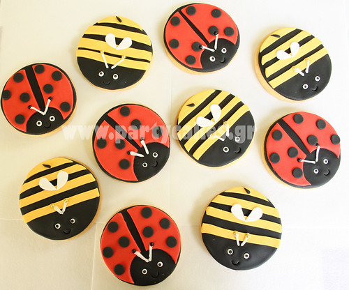 Bee and ladybird cookies
