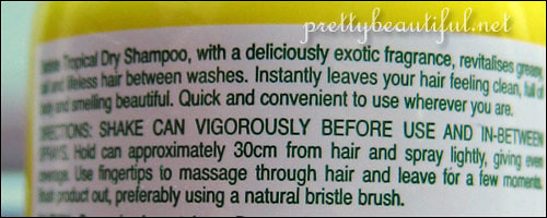 Batiste Dry Shampoo Tropical Instructions