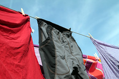 Laundry drying on line (!.Keesssss.!) Tags: sky cloud nature netherlands horizontal outdoors photography clothing day nopeople laundry string hanging clothesline domesticlife chores gettyimages clothespin drying royaltyfree colorimage theflickrcollection keessmans 209ksgetty