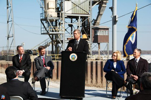 L to R-- Mike Baroni, vice president of economic policy, Archer Daniels Midland Company; Dr. Jon Hagler, director, Missouri Department of Agriculture; Secretary Vilsack; Senator Claire McCaskill; Jim Fisher, pork producer, Fisher Farms
