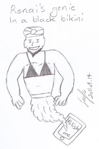 Renai's genie in a black bikini