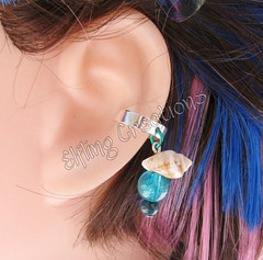 Blue and Shell Cartilage Ear Cuff - Mermaid's Adornment