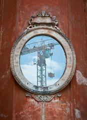 lo specchio di un restauro (*magma*) Tags: street blue sky roma reflection photography mirror strada crane centro pantheon corso cielo restoration palazzo lavori azzurro specchio gru riflesso restauro ristrutturazione