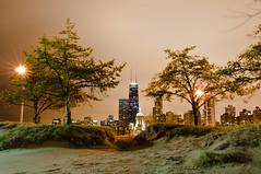 45 In The Sand  (Explored 4/18/11) (benchorizo) Tags: longexposure chicago skyline nikon wideangle nightshots hancock northavebeach uwa banias d90 tokina1224mm