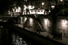 Embraced by the Light (french_mpro) Tags: bridge light party paris france saint youth night canon photography photo europe fiesta pont michel quai saintmichel frenchmpro