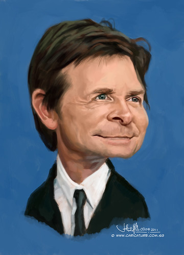 digital caricature of Michael J Fox - 3
