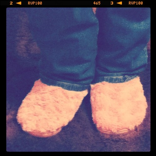 Rocking my fuzzy pink slippers.
