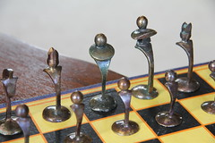 Murray_Doreen_Custo_Chess_Set_012 (Fraser Kitt Photography) Tags: game set bronze chess cast knowledge murray strategy doreen polished patina cunning