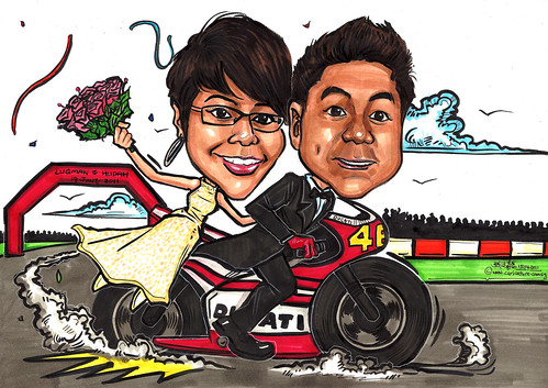 Wedding couple caricatures on Ducati