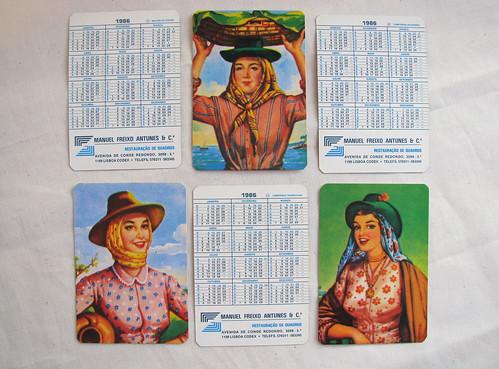 calendários 1986