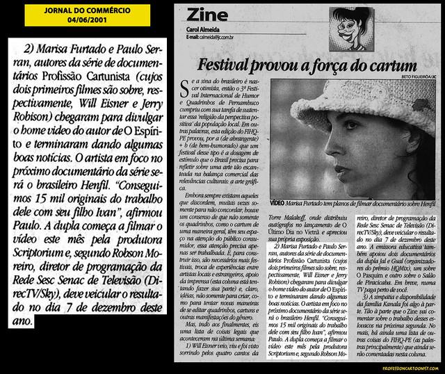 """""""Festival provou a força do cartum"""" - Jornal do Commércio - 04/06/2001"""