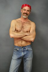 Shirtless Tommy (Cowboy Tommy) Tags: shirtless hairy smile goatee nipples blueeyes stomach tommy belly jeans loveline redneck tight levis bellybutton barechest bulge hanky packingheat redhanky