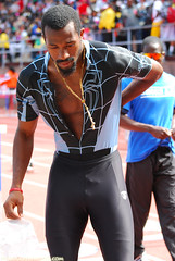 Black Spiderman (Starmaker Photos) Tags: carnival man black male college philadelphia sports field race athletic university track pennsylvania muscular photojournalism penn africanamerican runner sprint relays bopr